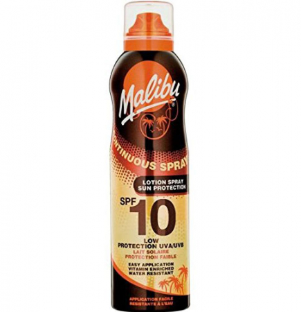Lotiune Spray MALIBU Continuous Spray, Rezistenta la apa, UVA/UVB, SPF10, 175 ml