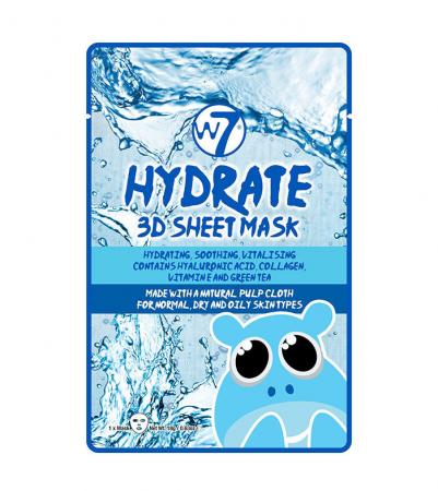 Masca Hidratanta cu Acid Hialuronic, Colagen si Ceai verde W7 Hydrate 3D Sheet Mask, 18 g