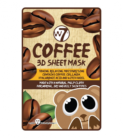 Masca cu Cafea, Colagen si Acid Hialuronic, W7 Coffee 3D Sheet Mask, 18 g