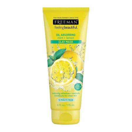 Masca pentru tenul gras FREEMAN Oil Absorbing Mint + Lemon Clay Mask, 175 ml