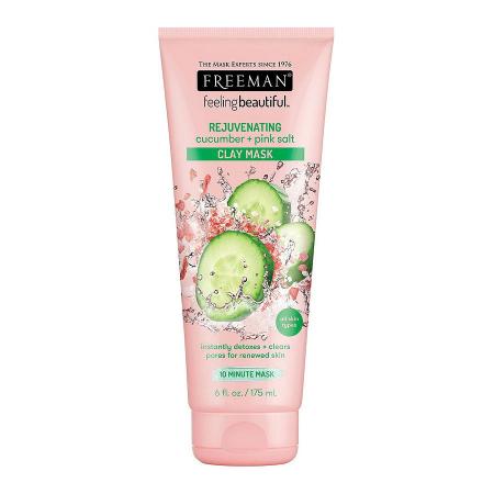 Masca detox cu efect de intinerire FREEMAN Rejuvenating Cucumber + Pink Salt Clay Mask, 175 ml