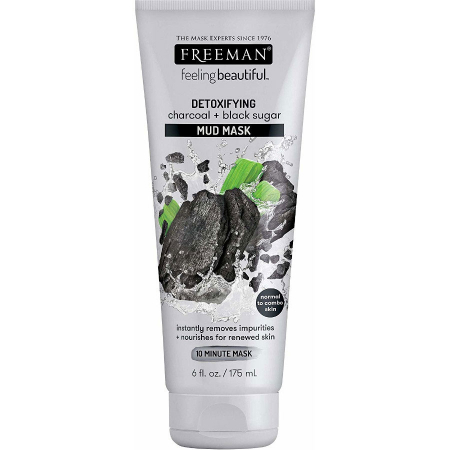 Masca detoxifianta cu carbune si zahar negru FREEMAN Detoxifying Charcoal + Black Sugar Mud Mask, 175 ml