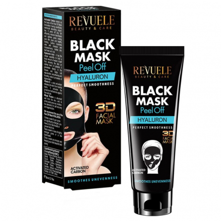 Masca neagra 3D cu carbune activ si acid hialuronic REVUELE Hyaluron, Perfect Smoothness, Peel Off, 80 ml0