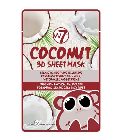 Masca cu Cocos, Colagen si Vitamina E, W7 Coconut 3D Sheet Mask, 18 g