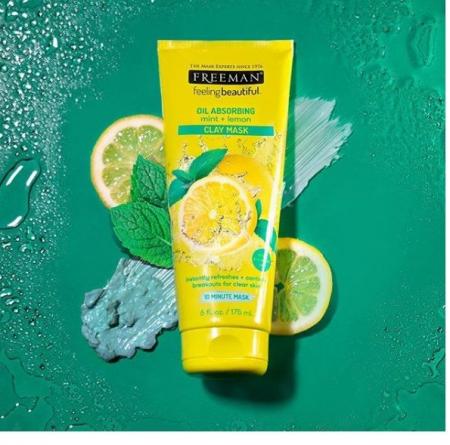 Masca pentru tenul gras FREEMAN Oil Absorbing Mint + Lemon Clay Mask, 175 ml1