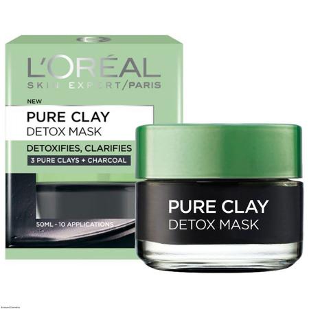 Masca revitalizanta pentru iluminarea tenului cu extract de carbune L'Oreal Paris Pure Clay, Detox Mask, 50 ml