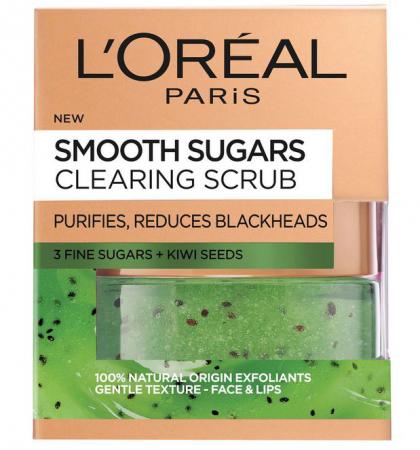 Scrub exfoliant cu zahar pentru ten cu puncte negre L'Oreal Paris, Smooth Sugars, Clear Scrub, 50 ml