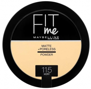 Pudra compacta matifianta Maybelline New York Fit Me Matte & Poreless Pressed Powder  - 115 Ivory, 14 gr