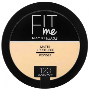 Pudra compacta matifianta Maybelline New York Fit Me Matte & Poreless Pressed Powder - 120 Classic Ivory, 14 gr