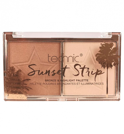 Paleta Iluminatoare Bronzanta TECHNIC Sunset Strip Bronze & Highlight Palette