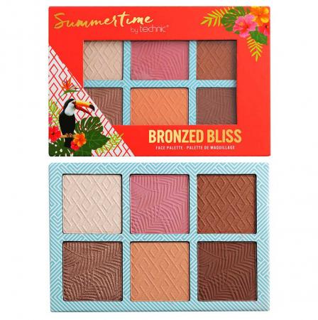 Paleta bronzanta iluminatoare TECHNIC Summertime - Bronzed Bliss, 6 culori, 2 x 3.6 g