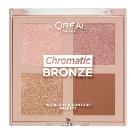 Paleta bronzanta iluminatoare L'Oreal Paris Chromatic Bronze Highlight & Contour Palette, 10 g