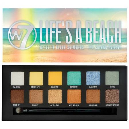 Paleta Cu 12 Farduri W7 Life's A Beach Metallic Beach Shimmers, 9.6 gr