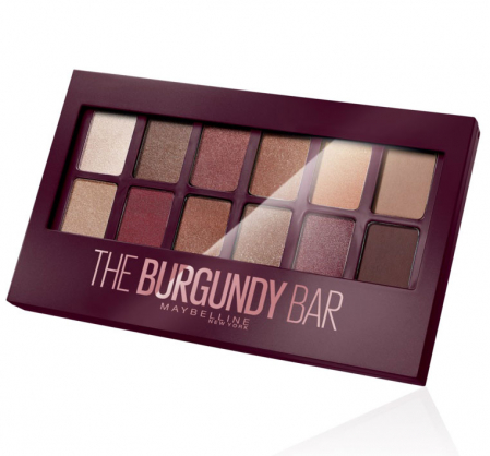 Paleta de farduri Maybelline New York The Burgundy Bar, 12 Nuante, 9.6 g