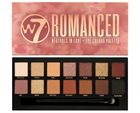 Paleta farduri W7 Romanced Neutrals In Love Eye Colour Palette, 14 culori, 9.6g
