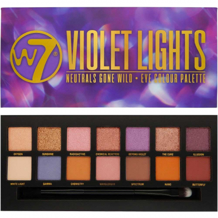 Paleta farduri W7 Violet Lights Neutrals Gone Wild, 14 culori, 9.6g