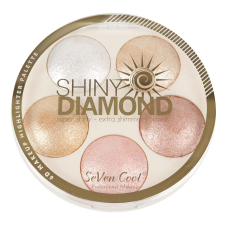 Paleta Profesionala Iluminatoare, Shiny Diamond 5 Color Highlighter Palette 3D, 15 g