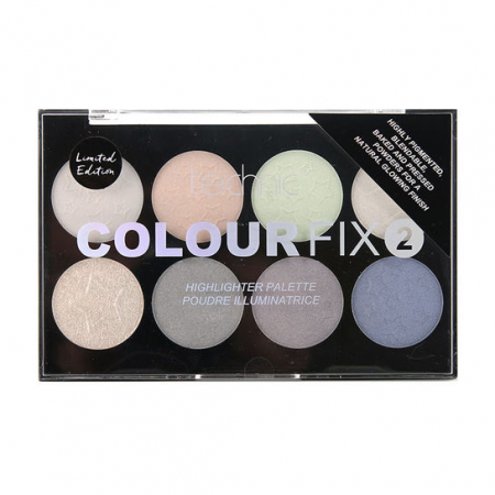 Paleta Profesionala cu 8 Iluminatoare Pudra TECHNIC Colour Fix 2 Highlighter, Limited Edition
