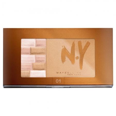 Paleta Pentru Bronz Si Iluminare Maybelline FaceStudio Bricks Bronzer - 01 Blondes, 7 gr0
