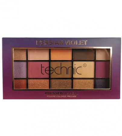 Paleta Profesionala de Farduri Technic 15 Pressed Pigment Palette, Persian Violet, 15 Culori, 30 g
