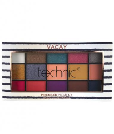 Paleta Profesionala de Farduri Technic 15 Pressed Pigment Palette, Vacay, 15 Culori, 22.5 g