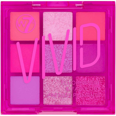 Paleta Profesionala de Farduri W7 Vivid Pressed Pigment Palette Punchy Pink, 9 culori, 9 g