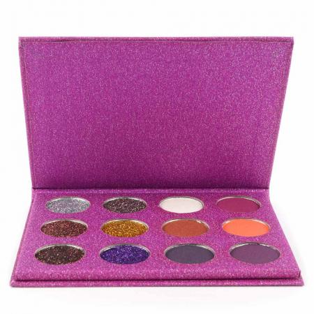 Paleta Profesionala de Glittere si Farduri, 12 Color Glitter & Metallic Eyeshadow, Purple1