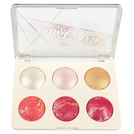 Paleta Profesionala Iluminatoare, Party Star LUXURY, 6 Colors Blush & Highlighter, 18 g1