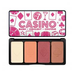 Paleta de Blush-uri Iluminatoare W7 Casino Blush, Highlight & Contour Face Palette, 16g
