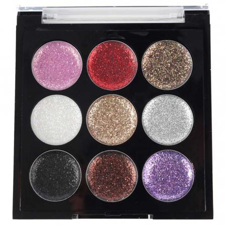 Paleta Sclipici cu 9 Glittere Multifunctionale USHAS Rainbow Glitter, 02