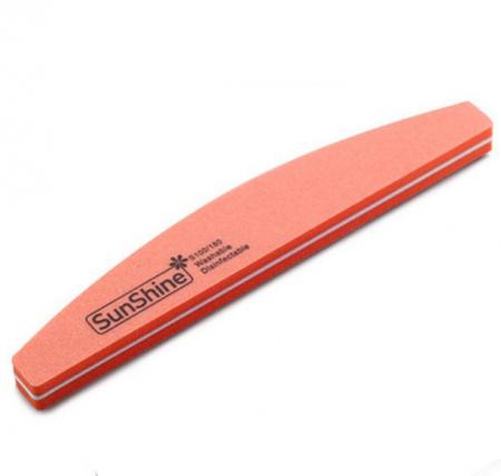 Pila profesionala lavabila pentru unghii SunShine, granulatie 100/180, tip semiluna, Pink Candy