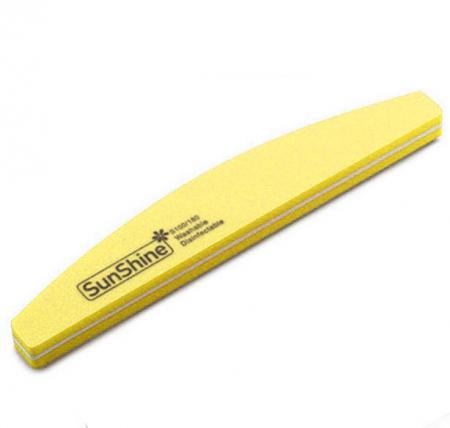 Pila profesionala lavabila pentru unghii SunShine, granulatie 100/180, tip semiluna, Lemon