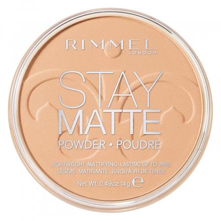 Pudra matifianta rezistenta la transfer RIMMEL London Stay Matte, 020 Nude Beige, 14 g