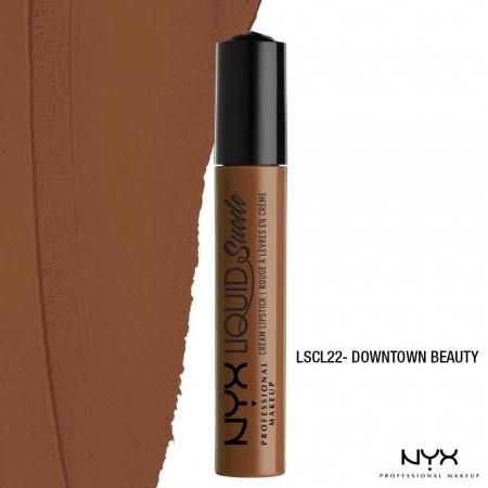 Ruj lichid mat NYX Professional Makeup Liquid Suede Cream, 22 Downtown Beauty, 4 ml2