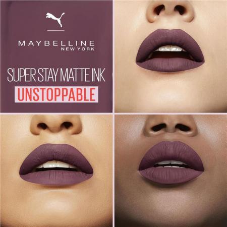 Ruj lichid mat rezistent la transfer Maybelline Puma SuperStay Matte Ink, 12 Unstoppable, 5 ml4