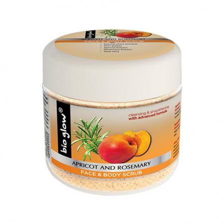 Scrub Bio Glow pentru ten si corp cu Caise, Rozmarin & Vitamina E, 300 ml