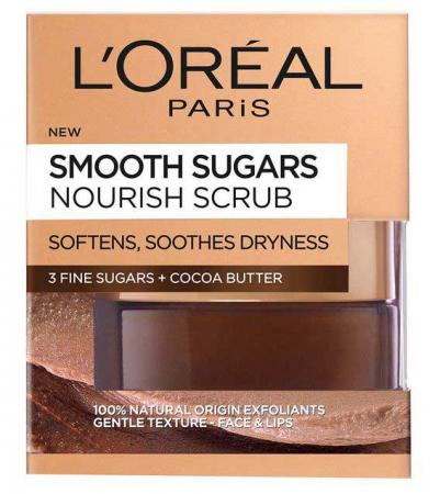 Scrub exfoliant cu zahar pentru ten uscat L'Oreal Paris, Smooth Sugars, Nourish Scrub, 50 ml