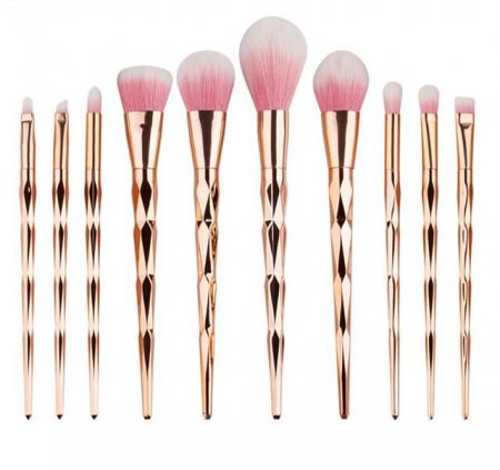 Trusa Profesionala Cu 10 Pensule De Machiaj Unicorn Diamond - Rose Gold0