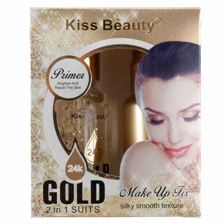 Set Baza de Machiaj cu Particule de Aur 24K Kiss Beauty Gold Primer si Spray Fixator Makeup, 30 ml x 35 ml1