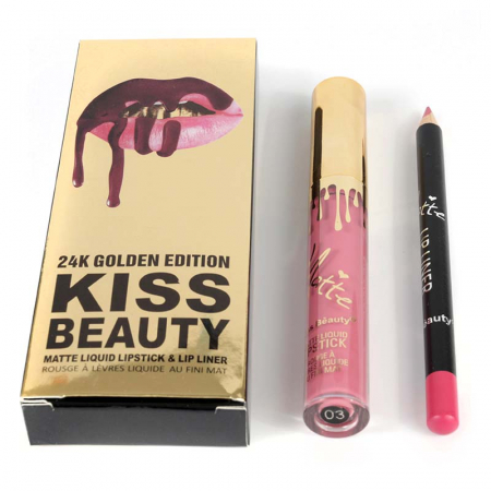 Set buze Kiss Beauty cu Ruj Lichid Mat si Creion de buze, 03 Princess