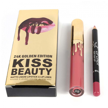 Set buze Kiss Beauty cu Ruj Lichid Mat si Creion de buze, 05 Naked