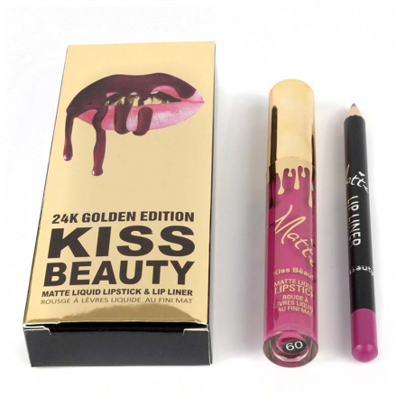 Set buze Kiss Beauty cu Ruj Lichid Mat si Creion de buze, 09 Madison