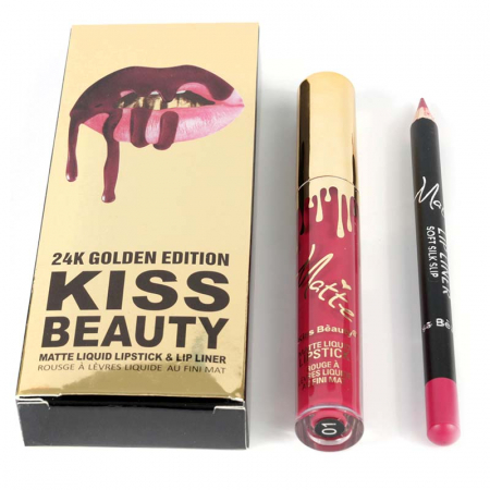 Set buze Kiss Beauty cu Ruj Lichid Mat si Creion de buze, 01 Kiss Of Fire