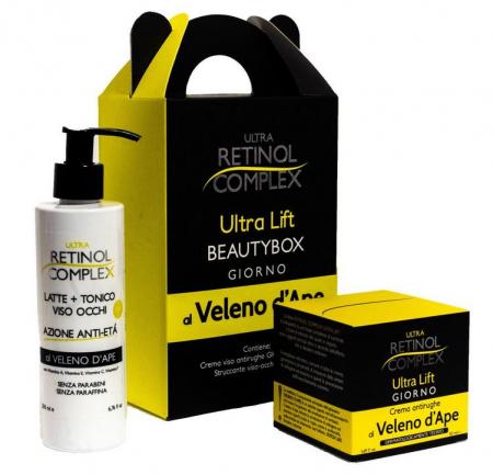 Set cadou Beauty Box cu venin de albine: crema antirid si lapte demachiant, Ultra Retinol Complex