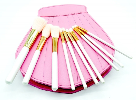 Trusa Profesionala Cu 10 Pensule De Machiaj In Forma De Scoica Sea Shell - Pink1