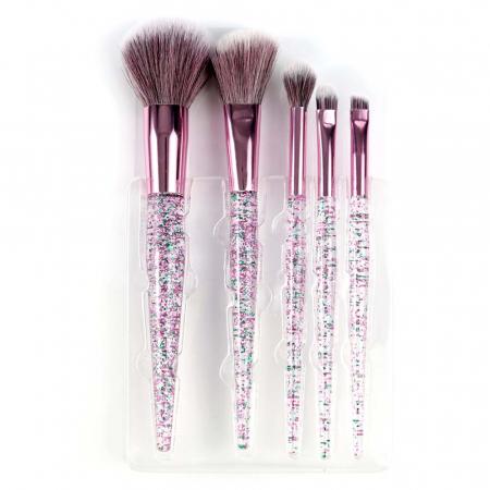 Set 5 Pensule cu Glitter pentru machiaj, Complexion 5 Brush Kit2