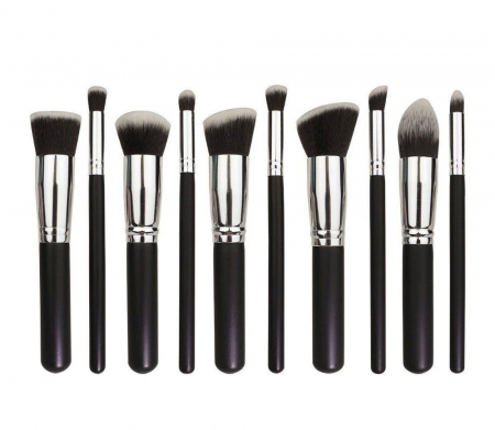 Set de 10 Pensule Profesionale Top Quality Kabuki Lilyz, Black