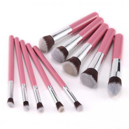 Set de 10 Pensule Profesionale Top Quality Kabuki Lilyz, Pink7
