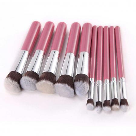 Set de 10 Pensule Profesionale Top Quality Kabuki Lilyz, Pink3