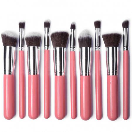 Set de 10 Pensule Profesionale Top Quality Kabuki Lilyz, Pink4
